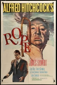 2z039 ROPE 1sh R58 best art of James Stewart & director Alfred Hitchcock with murder weapon!