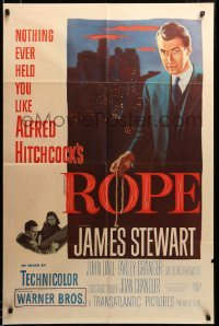 2z038 ROPE 1sh '48 great image of James Stewart holding the rope, Alfred Hitchcock classic, rare!