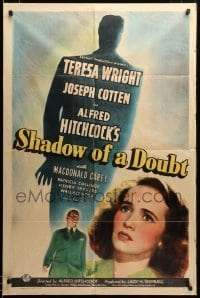 2z035 SHADOW OF A DOUBT style C 1sh '43 Teresa Wright, Joseph Cotten, directed by Alfred Hitchcock!