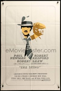 2z746 STING 1sh '74 cool completely different art of Paul Newman & Robert Redford, ultra rare!