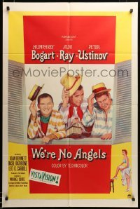 2z028 WE'RE NO ANGELS 1sh '55 art of Humphrey Bogart, Aldo Ray & Peter Ustinov tipping hats!