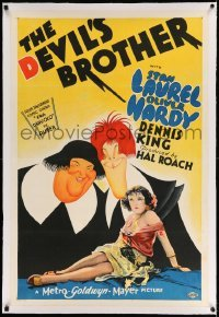3a239 DEVIL'S BROTHER linen style D 1sh '33 Hal Roach, incredible Hirschfeld art of Laurel & Hardy!