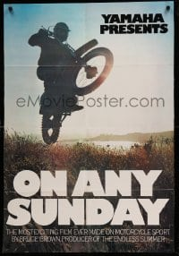 3b030 ON ANY SUNDAY trimmed 30x40 '71 Bruce Brown, Steve McQueen, cool jumping motorcycle image!