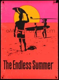 3b023 ENDLESS SUMMER 29x40 commercial poster '67 Bruce Brown surfing classic, cool day-glo art!
