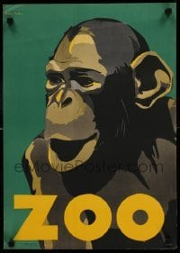 3b004 ZOO 17x24 German zoo poster '20s wonderful close up art of ape by Osten-Sacken, rare!