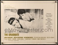 3b040 GRADUATE pre-awards 1/2sh '68 classic image of Dustin Hoffman & Anne Bancroft in bed!