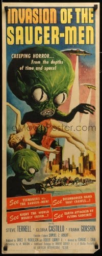 3b033 INVASION OF THE SAUCER MEN insert '57 classic Kallis art of cabbage head aliens & sexy girl!