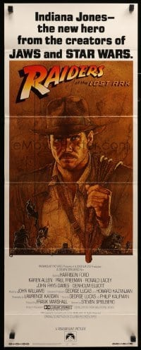 3b036 RAIDERS OF THE LOST ARK int'l insert '81 art of adventurer Harrison Ford by Richard Amsel!