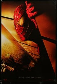 3b027 SPIDER-MAN DS int'l style 27x40 REPRO poster '02 Tobey Maguire w/WTC towers in eyes, Marvel!