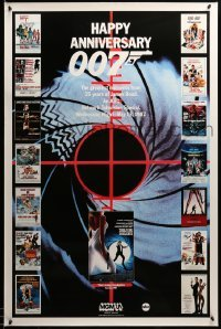 3b026 HAPPY ANNIVERSARY 007 tv poster '87 25 years of James Bond, cool image of many 007 posters!
