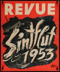3b016 REVUE 19x23 German magazine insert poster '53 MB cover story art of the North Sea flood!