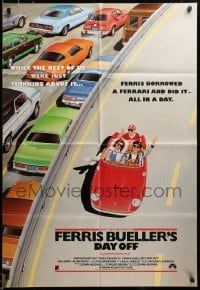3c065 FERRIS BUELLER'S DAY OFF English 1sh '86 different art of Broderick in Ferrari, very rare!
