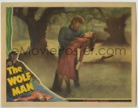 3c730 WOLF MAN LC '41 close up of werewolf Lon Chaney Jr. holding unconscious Evelyn Ankers!