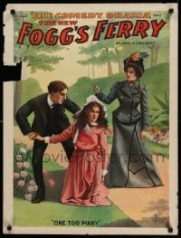 3k194 FOGG'S FERRY 21x28 stage poster 1893 art of man & woman fighting over kneeling girl!