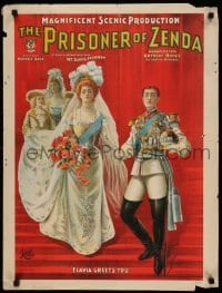 3k212 PRISONER OF ZENDA 21x28 stage poster 1895 coronation art, Daniel Frohman producer!