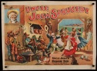 3k218 UNCLE JOSH'S HUSKIN BEE 21x28 stage poster 1890s stone litho of farmers & wives dancing!