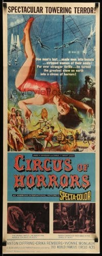3m488 CIRCUS OF HORRORS insert 60 outrageous horror art of super sexy trapeze girl hanging by neck