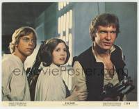 3x919 STAR WARS color 11x14 still '77 best c/u of Harrison Ford, Carrie Fisher & Mark Hamill!