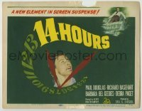 3x004 14 HOURS TC '51 Richard Basehart, Paul Douglas, Barbara Bel Geddes, cool clock design!