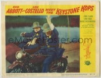 3x508 ABBOTT & COSTELLO MEET THE KEYSTONE KOPS LC #6 '55 Bud & Lou on motorcycle with sidecar!