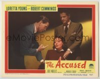3x511 ACCUSED LC #8 '49 Robert Cummings stands behind Loretta Young questioned by Wendell Corey!