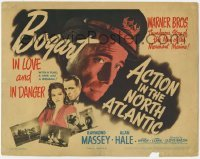 3x006 ACTION IN THE NORTH ATLANTIC TC '43 great c/u of Humphrey Bogart + sexy Julie Bishop, rare!