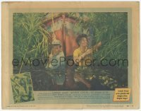 3x518 AFRICAN QUEEN LC #7 '52 Humphrey Bogart & Katharine Hepburn pull boat through swamp!