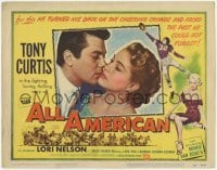 3x015 ALL AMERICAN TC '53 Tony Curtis, sexy Mamie Van Doren, Lori Nelson, football!