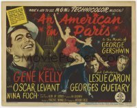 3x018 AMERICAN IN PARIS TC '51 great art of Gene Kelly & Leslie Caron dancing by Eiffel Tower!