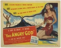3x019 ANGRY GOD TC '48 art of sexy native woman & man by a blazing volcano in furious eruption!
