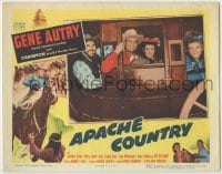 3x534 APACHE COUNTRY LC '52 great close up of Gene Autry & co-stars smiling in stagecoach!