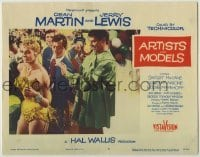 3x537 ARTISTS & MODELS LC #5 '55 Dean Martin watches Jerry Lewis paint sexy Anita Ekberg at party!