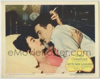 3x540 AUTUMN LEAVES LC '56 c/u of smoking Joan Crawford & Cliff Robertson embracing in bed!