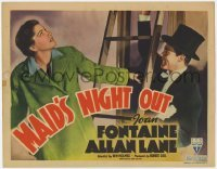 3x281 MAID'S NIGHT OUT TC '38 great image of dapper Allan Lane holding ladder for Joan Fontaine!