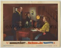 3x789 MAN BEHIND THE GUN LC #8 '52 woman watches Randolph Scott flirting with Patrice Wymore!