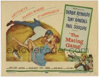 3x306 MATING GAME TC '59 Debbie Reynolds & Tony Randall are fooling around in the hay!