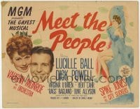 3x313 MEET THE PEOPLE TC '44 great art of sexy Broadway star Lucille Ball, Dick Powell!