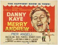 3x319 MERRY ANDREW TC '58 art of Danny Kaye, Pier Angeli & chimp, the happiest show in town!