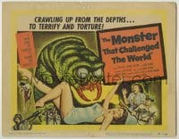 3x323 MONSTER THAT CHALLENGED THE WORLD TC '57 great artwork of creature & its victim!