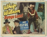 3x379 RANGE LAND TC '49 great full-length image of Whip Wilson standing by his horse, Andy Clyde!