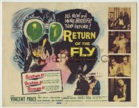 3x382 RETURN OF THE FLY TC '59 Vincent Price, the human terror created by atoms gone wild!