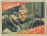 3x871 RIDERS OF THE WEST LC '42 best close up of cowboy Buck Jones with gun resting on saddle!