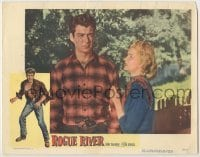 3x878 ROGUE RIVER LC '50 close up of worried Ellye Marshall looking up at cowboy Rory Calhoun!