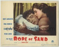 3x884 ROPE OF SAND LC #2 '49 romantic close up of Burt Lancaster & sexy Corinne Calvet in bed!
