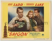 3x889 SAIGON LC #3 '48 sexy Veronica Lake eyes Alan Ladd with a satchel full of cash!