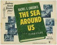 3x408 SEA AROUND US TC '53 really cool art of scuba divers and undersea creatures!