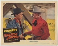 3x910 SINISTER JOURNEY LC #3 '48 c/u of bad guy pointing gun at William Boyd as Hopalong Cassidy!