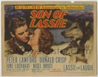 3x431 SON OF LASSIE TC '45 Peter Lawford, June Lockhart, canine star Lassie & her puppy!