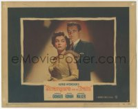 3x924 STRANGERS ON A TRAIN LC #7 '51 Robert Walker with gloved hands on Ruth Roman's shoulders!