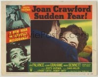 3x926 SUDDEN FEAR LC #3 '52 great close up of terrified Joan Crawford behind shoulder, film noir!